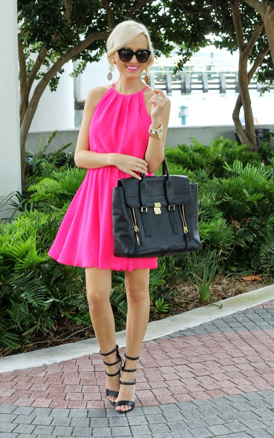 Pretty hot pink dress looks great with black strappy heels   Dress