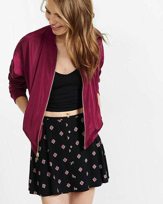 Berry Bomber Jacket from EXPRESS
