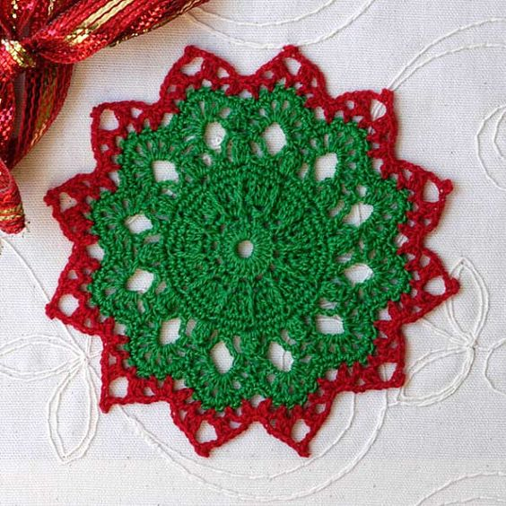 Christmas Holiday Crochet Lace Doily, Festive Winter Home Decor, Table Decoration