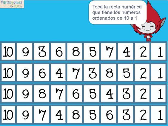 Retrocuenta en la recta numérica (10-1)