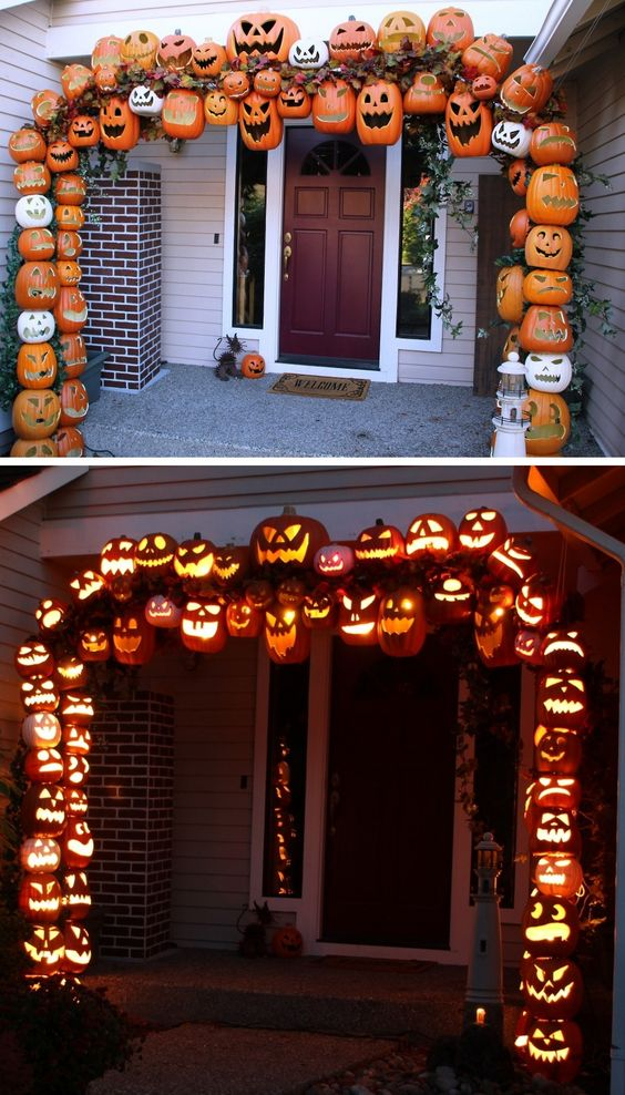 DIY Illuminated Pumpkin Arch Tutorial from Don Morin. 30 foam pumpkin were used to create this as well as PVC pipe and rebar. GIF by me using one of my favorite programs: makeagif.com.: