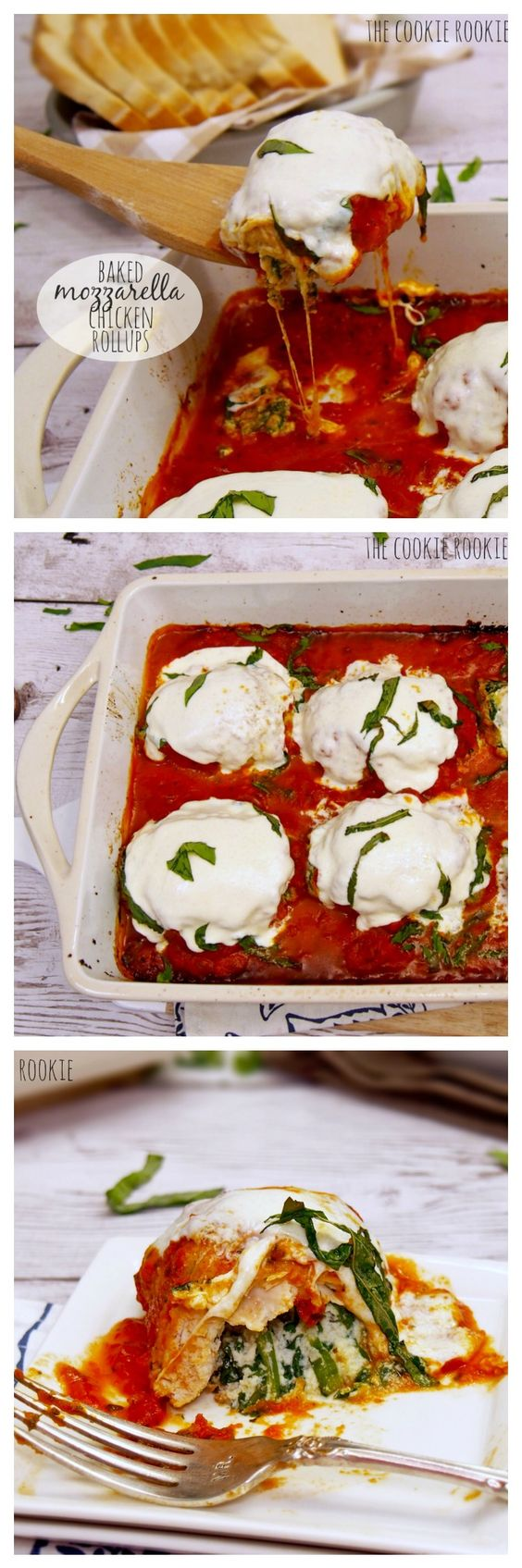 Baked Mozzarella Chicken Rollups, stuffed with sauteed spinach and ...