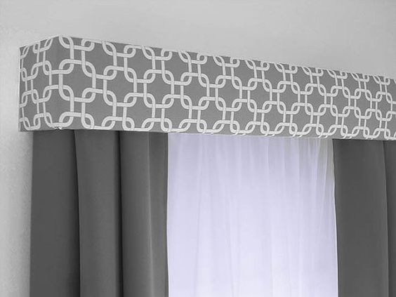 Custom Cornice Board Valance Box Window Treatment - Custom Curtain Topper in Modern Grey and White Fabric
