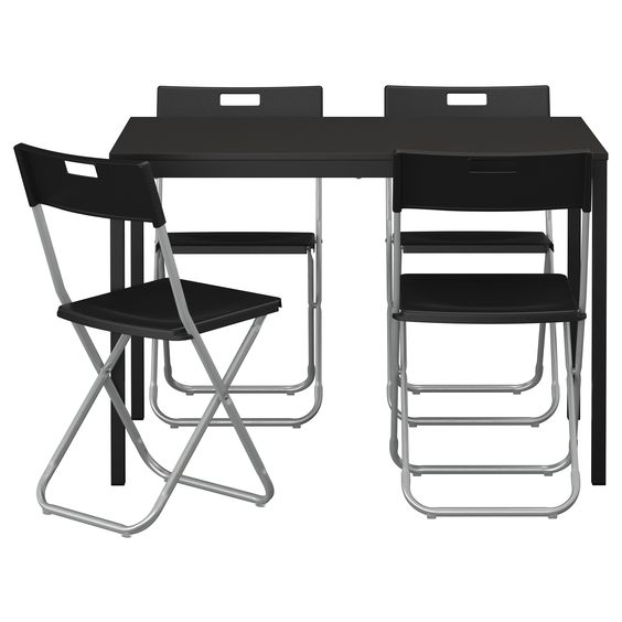 T REND GUNDE Table And 4 Chairs Black Mesas Chairs And Ikea