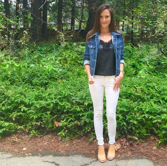 Shop the Look Below. Top: Jewel Be Mine, c/o. Jeans: Old Navy. Jacket: J.Crew Factory. Shoes: Bandolino via Marshall's. Necklace: Taudrey, c/o