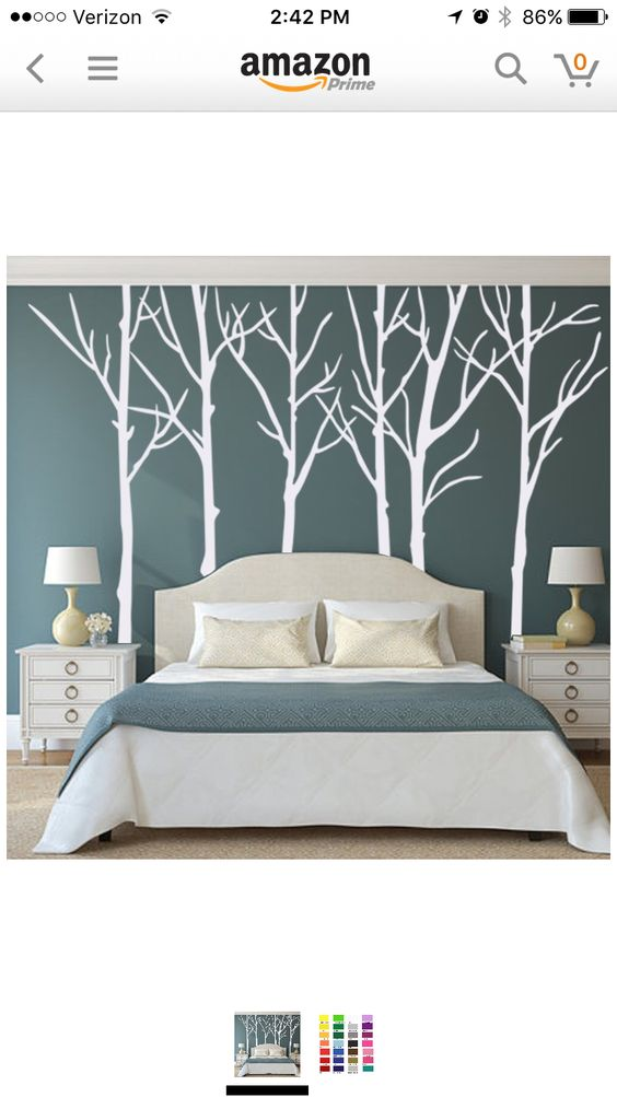 Love the trees on the wall behind the headboard or even - What to use instead of a headboard ...