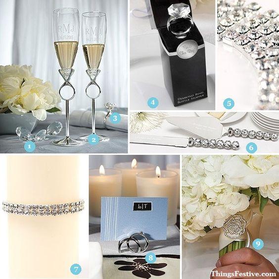 diamond wedding decorations are so right for a Tiffany wedding