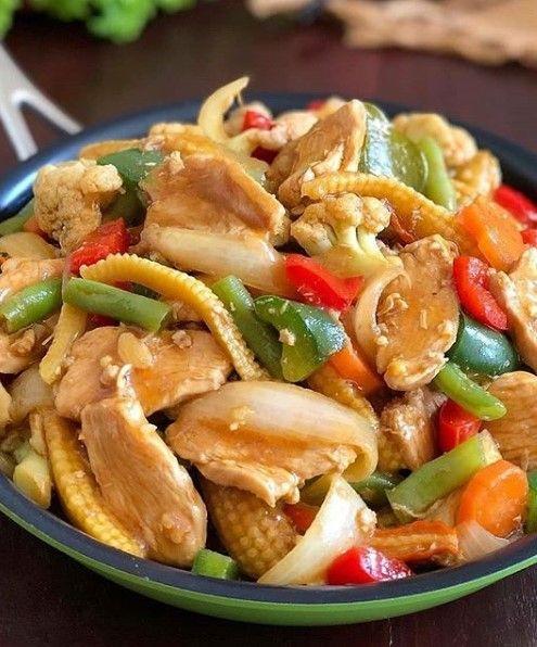 Resep Ayam Sayur : resep, sayur, Sayur, Paprika, Resep, Masakan,, Ayam,