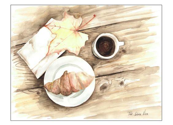 A3, aquarell, breakfast