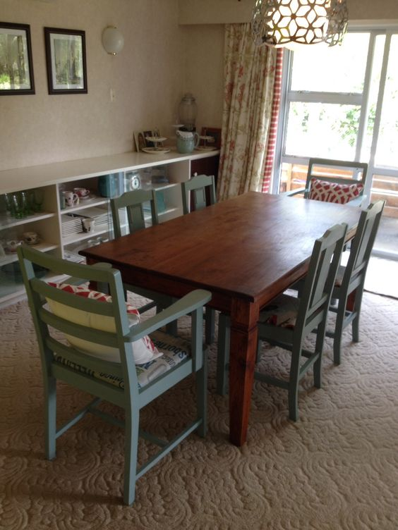 Chairs painted with annie sloan chalk paint duck egg blue for Duck egg dining room ideas