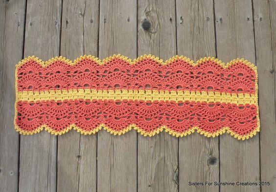 Orange Crochet Table Runner - Yellow Crochet Table Runner - Pink Crochet Table Runner - Handmade Table Runner - Table Decor - Crochet Decor by SistersforSunshine on Etsy https://www.etsy.com/listing/221514273/orange-crochet-table-runner-yellow
