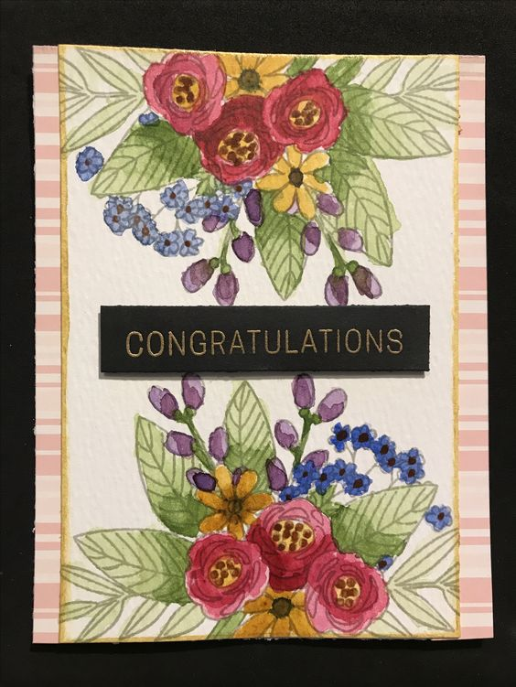 Congratulations card using the Simon Says Stamp June 2017 card kit. Inspo from Nina-Marie Trapani