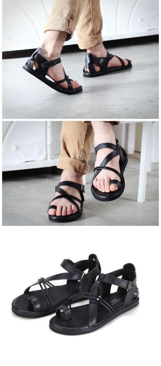 2015 nuovi uomini di modo trend sandali di cuoio genuino gladiatore spiaggia scarpe da uomo sandali in Dettagli del prodotto da Men's sandali su AliExpress.com   Gruppo Alibaba