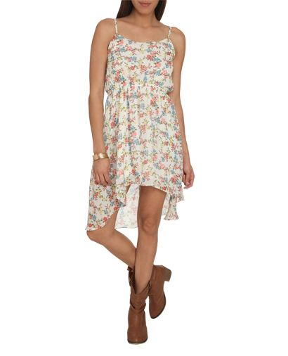 floral high-low chiffon dress $26.90 (wet seal)