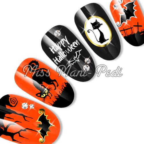 Halloween water slide decals code: SL113B. Available from www.missmanipedinailart.com