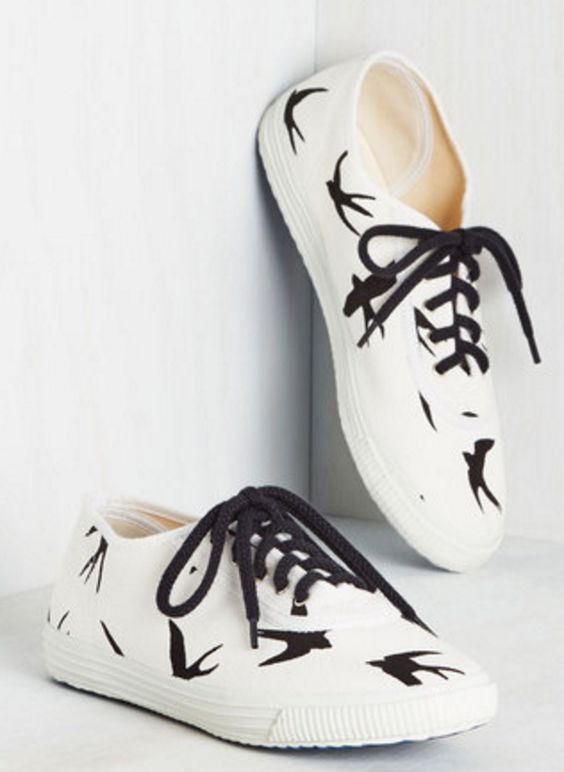 Black and White Bird Sneakers
