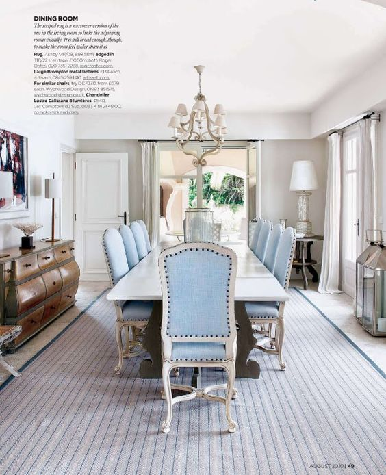 baby blue dining room chairs.