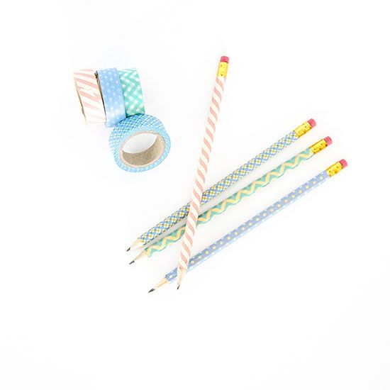 """Cover pencils in washi tape and put in a cute mason jar as an easy and fun teacher appreciation gift.  Teacher's are always getting their pencils """"borrowed"""" by students...this way, they know which ones are theirs!"""