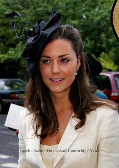 June 4, 2005 - Kate wore a lace pencil skirt with a cream blazer and a black fascinator to the wedding of Hugh Van Cutsem Junior and Rose Astor. Prince William was an usher.