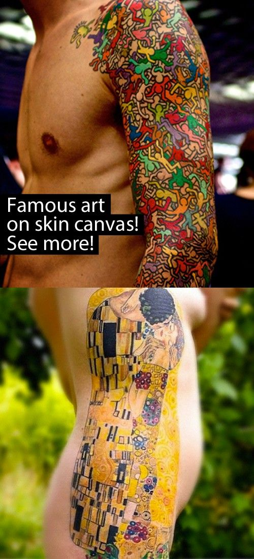 """The Kiss"" by Gustav Klimt and ""Untitled (People)"" by Keith Haring. Just two of our fave works of body art! Check out the rest: http://www.buzzfeed.com/h2/pinn/oxygen/13-art-tattoos-that-belong-in-a-museum"