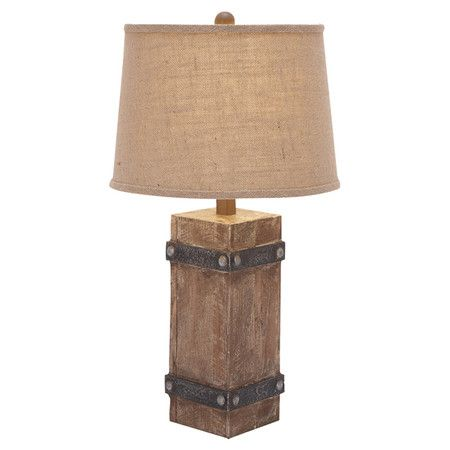 Wood Base Lamps: Showcasing a rustic wood base with studded bands, this handsome table lamp  evokes quaint,,Lighting