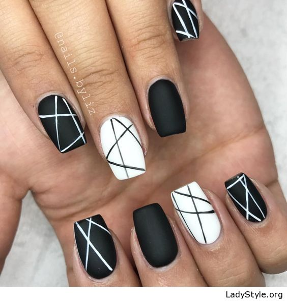 Matte black and white manicure , LadyStyle