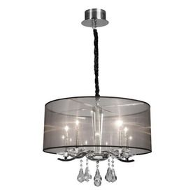 Artcraft Lighting 22-in W Contessa Chrome Crystal Accent Pendant Light with Tinted Shade