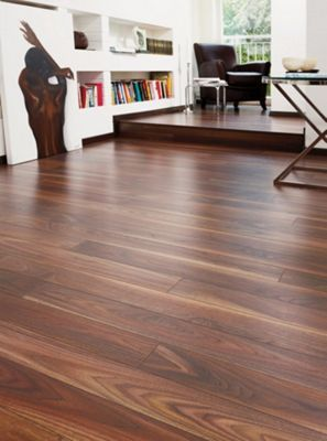 Schreiber Narrow Plank Laminate Flooring Rich Walnut 1