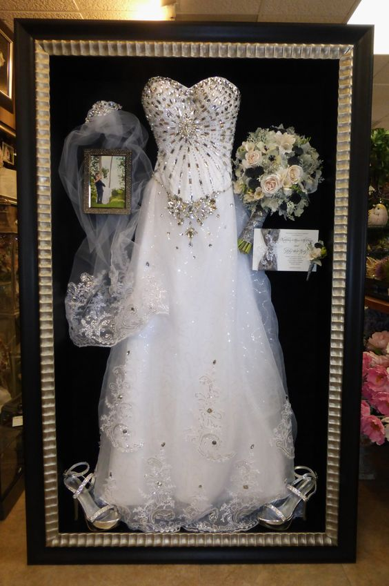 Framed wedding dress and preserved freeze-dried bouquet by Floral ...
