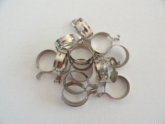 14 cafe curtain clips rings round vintage silver colored metal 15 ...