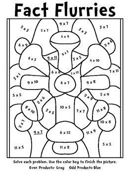 Winter Fun Multiplication Mosaics Color By Number Math Math Coloring Worksheets Math Tricks Math Coloring