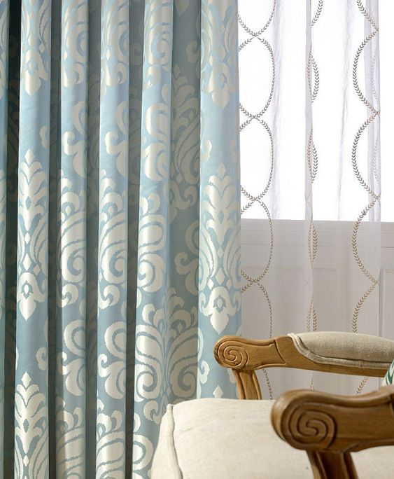 A Pair of Blue Off White Damask Curtains Made to Order Up to 102