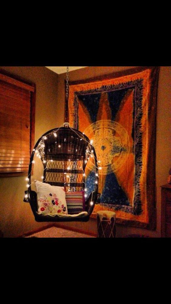 Cute way to boho up a hanging chair