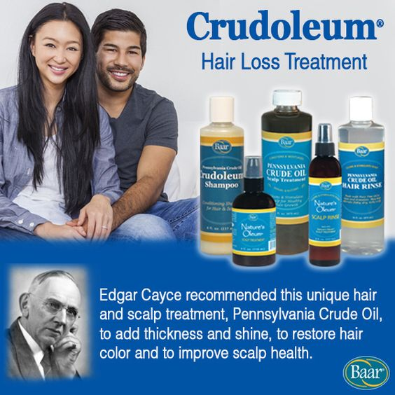 Experiencing thinning hair, balding or hair loss? Edgar Cayce's most frequently recommended hair and scalp treatment is Pennsylvania Crude Oil for replenishing healthy hair and cleansing the scalp. https://www.baar.com/pennsylvania-crude-oil-scalp-treatment-crudoleum