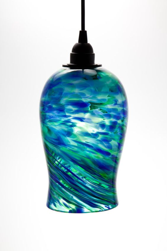 Hand Blown Glass Hanging Light Pendant Fixture In Blue And