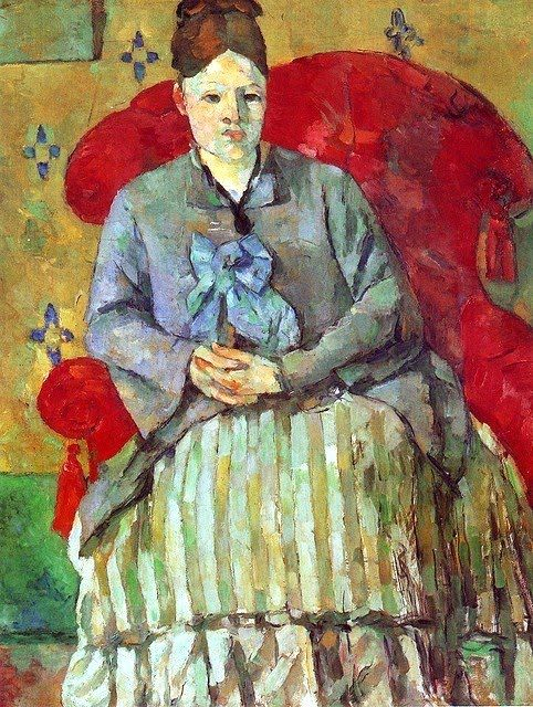 'Madame Cezanne Marie Hortense Fiquet in a Striped Skirt' - Paul Cezanne  (1839-1906)
