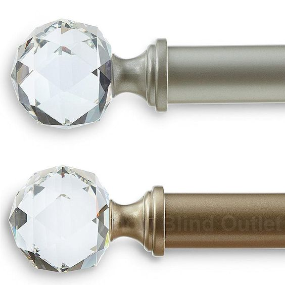 Curtains Ideas curtain rod crystal finials : Crystal Jewel Curtain Rod - Three Sizes - Two Colors | # [ DRAPES ...
