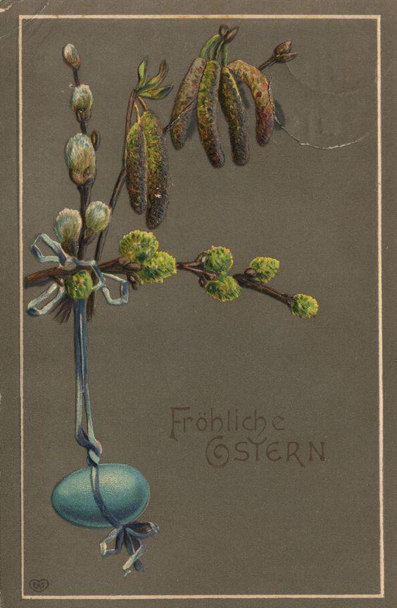 Vintage Easter Postcard - Weidekätzchen und blaues Ei