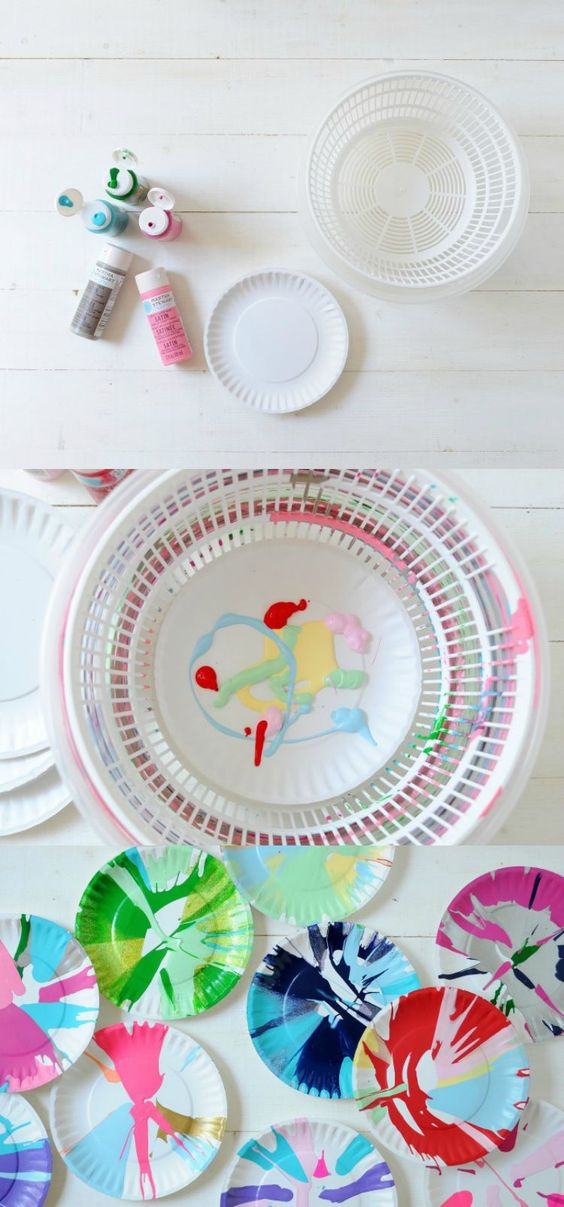 This DIY spin art is such a fun craft for kids! And you can do it with a basic household item . . . a salad spinner!