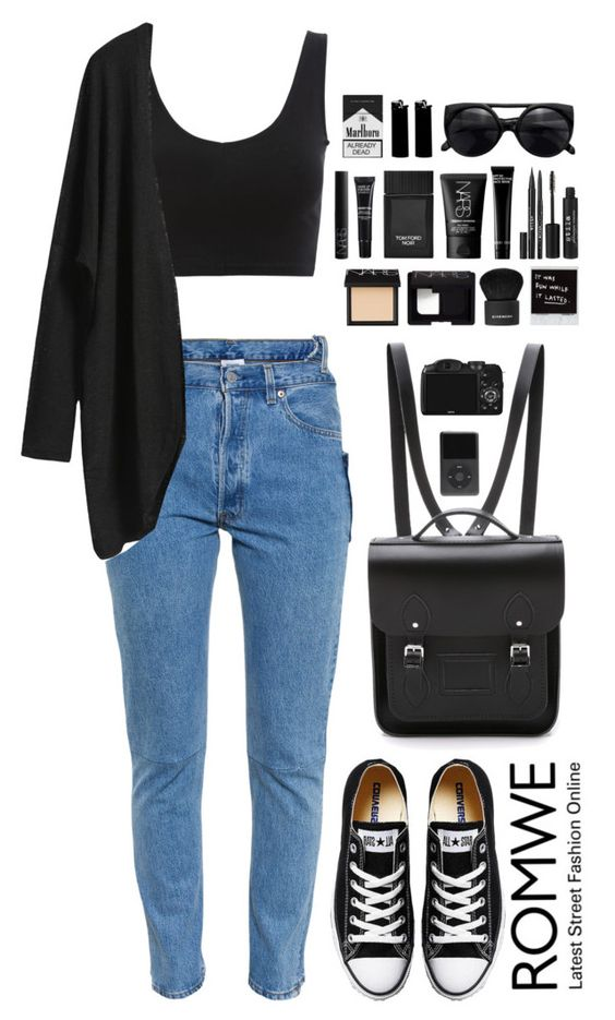 """Romwe 10"" by scarlett-morwenna ❤ liked on Polyvore featuring Vetements, Converse, The Cambridge Satchel Company, NARS Cosmetics, Givenchy, Stila, Bobbi Brown Cosmetics, Tom Ford and MAKE UP FOR EVER"