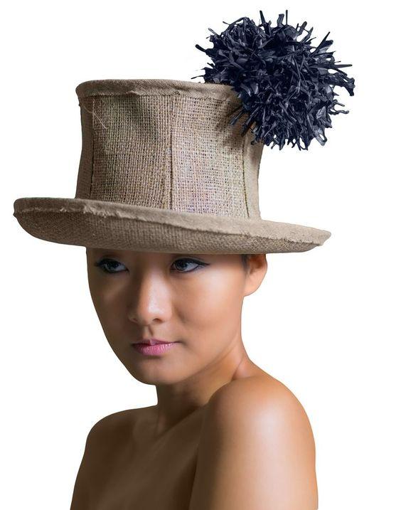 Pompon natural burlap top hat