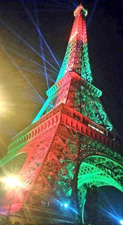 Portuguese flag in Eiffel Tower #EURO16 #POR