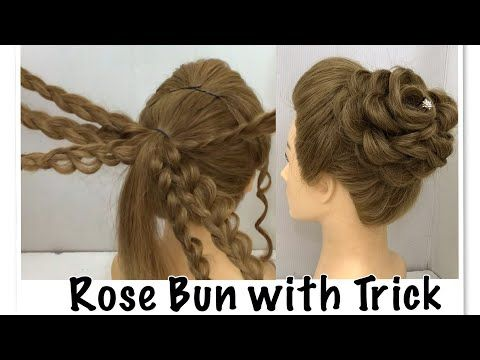 Beautiful Rose Bun Hairstyle With Trick Easy Wedding Hairstyles Youtube Hair Styles Bun Hairstyles Braided Rose Hairstyle