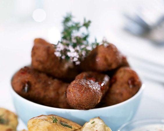 Feurige Kroketten mit Dip | Zeit: 45 Min. | http://eatsmarter.de/rezepte/feurige-kroketten-mit-dip