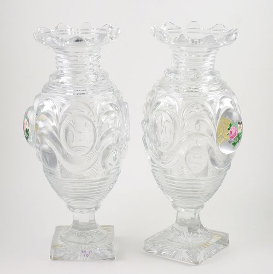 Baccarat Cut Crystal Vases With Floral Medallions   From a unique collection of antique and modern glass at http://www.1stdibs.com/furniture/dining-entertaining/glass/