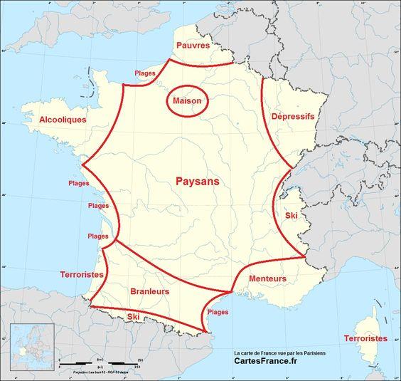 La carte de France vue par les Parisiens: