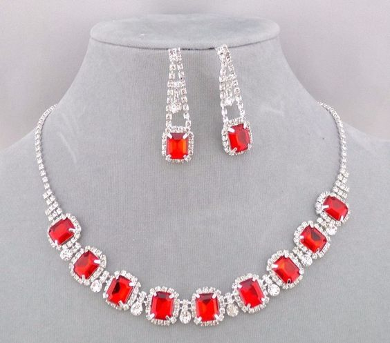 Red and Crystal Rhinestone Necklace Earrings Set Silver Fashion Jewelry NEW…