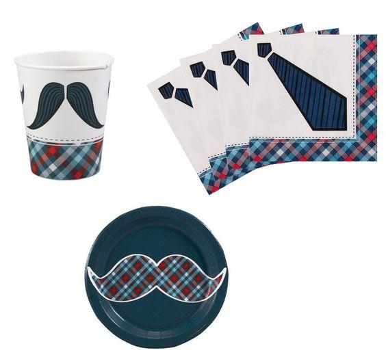 Little Man Mustache Birthday Party Supplies Kit Plates Napkins & Cups Set for 8 #PartyDestination #BirthdayChild