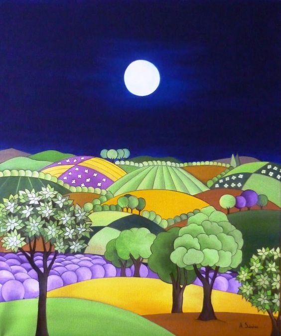 'La Provenza de noche' - by Ana Sánchez Marín | ARTE NAIF.-: