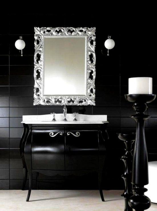 Schwarzer Schrank Badezimmer Koniglichem Stil Klassisches